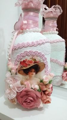 Atelie Beth Ribeiro: Garrafa decorada vintage II                                                                                                                                                      Mais
