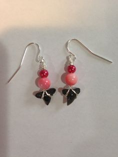 Shark Tooth Earrings Red and Pink Earrings by DayDreamingDecor Pink Earrings, Dangle Earrings, Shark Tooth Necklace, Homemade Jewelry, Sharks, Red And Pink, Sterling Silver Earrings, Teeth, Dangles