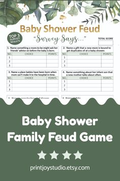 Printable Party, Baby Shower Printables, Baby Shower Signs, Baby Shower Games, Family Feud Game, Movie Night Party, Star Baby Showers, Gender Neutral Baby Shower, Baby Games