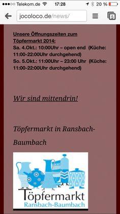 Unsere Öffnungszeiten im JoCo-Loco zum Töpfermarkt 2014 in Ransbach-Baumbach.