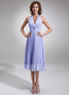 A-Line/Princess Halter Knee-Length Chiffon Bridesmaid Dress With Beading Pleated (007001067) - JJsHouse