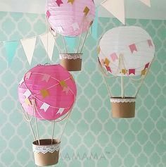 Whimsical Hot Air Balloon decoration DIY Kit - hot pink and gold - nursery decor - travel theme nursery - set of 3