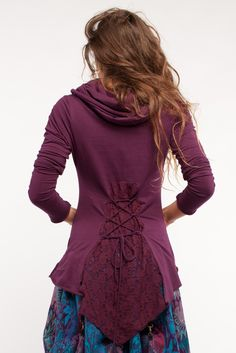 Cotton lycra hooded top with side lace and lacing. Goa Trance, Steampunk, Psytrance, Hippie,Boho,Tribal festival clothing. Pocket belts, hats and wrist Warmers.Visit our shops in Camden and Greenwich Markets. http://gekko-london.com/style-gallery/25/76/655