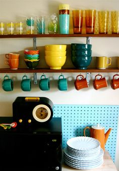 This is somewhat similar to what I will do when I make shelves in my kitchen and display my fiestaware