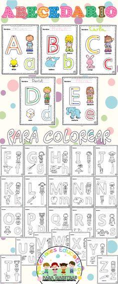 Abecedario para colorear con imágenes para imprimir. Con letras en mayúsculas y minúsculas. Un alfabeto para trabajar con los niños de preescolar, infantil y primaria. Ideal para trazar los primeros trazos de preescritura. Además podemos aprender el nombre y trabajar la grafomotricidad y motricidad fina.