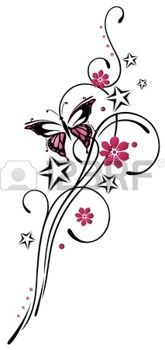 tattoo designs: Tribal with stars and butterfly, pink and black