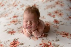 Denver newborn photographer - Sweet August Studios.  Newborn baby girl, floral backdrop, froggy pose.