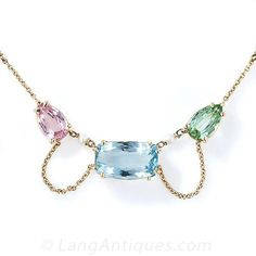 Antique Multi-Color Aquamarine and Tourmaline Necklace - 90-1-4446 - Lang Antiques
