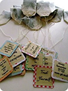 Personalized tea bags. These would be wonderful for Poetry Teatime! You might even use snippets from a poem.