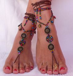 FLOWER MANDALA barefoot SANDALS foot jewelry hippie sandals toe ring anklet beaded crochet barefoot tribal sandal festiva yoga wedding