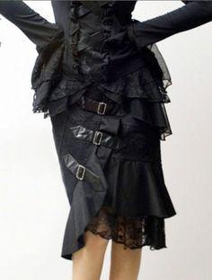 Gothic Steampunk Lace and Buckles Rock schwarz Schnallen 36 38 40 42 44 46