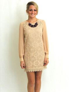 $49.00 She Looked Like Autumn Lace Dress in Nude