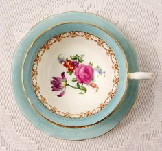 Aynsley Blue Tea Cup and Saucer with Flowers, Vintage English Bone China