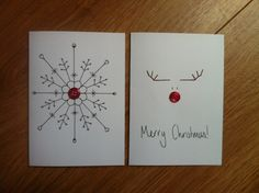 button craft christmas cards - use rhinestones instead? Cute reindeer drawing idea for a sign - Crafting Intensity Christmas Card Crafts, Homemade Christmas Cards, Homemade Cards, Handmade Christmas, Holiday Cards, Christmas Crafts, Simple Christmas, Christmas Lights, Reindeer Drawing