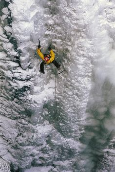 Ice climbing in the South Fork Valley - Wyoming, United States.