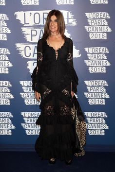 Carine Roitfeld attends the L'Oreal Paris Blue Obsession Party on May 18, 2016 #Cannes2016