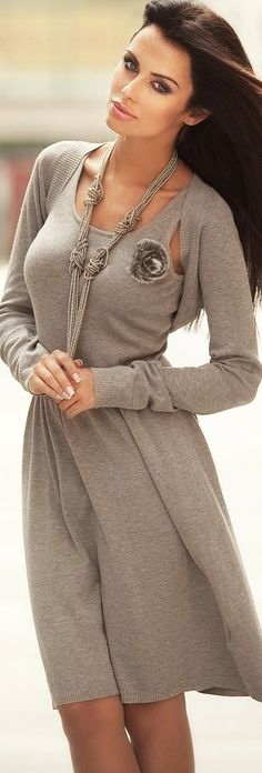 "Beautiful ... Gray Dress ♡♥♡♥ Thanks, Pinterest Pinners, for stopping by, viewing, re-pinning, & following my boards. Have a beautiful day! ^..^ and ""Feel free to share on Pinterest ^..^  #topfashion #fashionandclothingblog *•.¸♡¸.•**•.¸ ┊  ┊ ┊ ┊  ┊  ┊"
