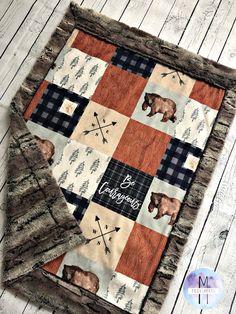 Woodland Cabin Minky Baby Blanket - Crib Blanket - Twin Blanket Easy Baby Blanket, Minky Baby Blanket, Weighted Blanket, Baby Boy Blankets, Baby Boy Bedding, Baby Boy Nurseries, Baby Quilts, Baby Boy Tops, Baby Kids