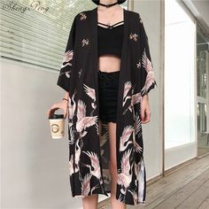 Kimono cardigan Womens tops and blouses Japanese streetwear women tops summer 2019 long shirt female ladies blouse women clothes - Source by kamadmoreau - Cardigan Style, Long Kimono Cardigan, Kimono Jacket, Long Kimono Outfit, Kimono Style Dress, Summer Cardigan, Kimonos Fashion, Fashion Outfits, Fashion Clothes