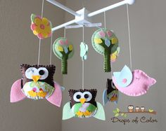 Baby Crib Mobile - Baby Mobile - Owl and Bird Mobile Pottery Barn Brooke Matching Mobile Crib Mobile (You can pick your colors) via Etsy