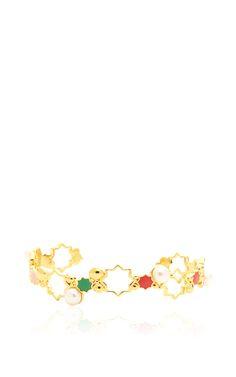 Yellow Plated Silver Enamel And Pearl Leila Rainbow Cuff by LeiVanKash for Preorder on Moda Operandi