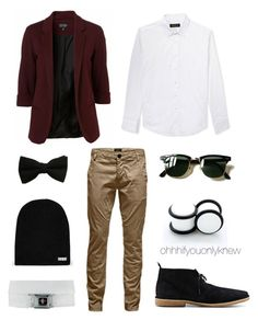 """Untitled #235"" by ohhhifyouonlyknew ❤ liked on Polyvore featuring 21 Men, Jack & Jones, Ray-Ban, Neff, tomboy, lgbt and dyke"