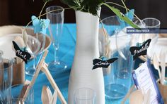 Centre de table #turquoise #papillon