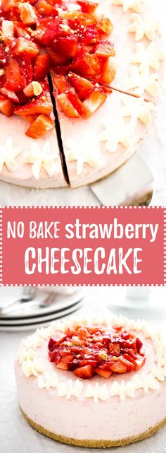 No Bake Strawberry Cheesecake - this fluffy mousse cake is made with fresh strawberries! A perfect cake for special occasions. Can be served frozen! Best Cheesecake, Cheesecake Recipes, Cupcake Recipes, Baking Recipes, Cupcake Cakes, Dessert Recipes, Cupcakes, Frozen Cheesecake, Baby Cakes