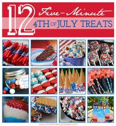 Super easy last minute (or not so last minute) 4th of July treats. Lots of colorful fun holiday foods to take to your July 4th cookout or picnic