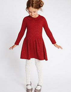 Cotton Rich Sparkle Knitted Dress (1-10 Years) | M&S