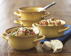 Farmhouse Double Handle Bowls #williamssonoma Perfect for Soup, Chili, and Individual Cassaroles.  I want these.