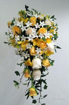 23 Ideas bridal flowers bouquet cascade shape for 2019 White Rose Bouquet, Bridal Bouquet Blue, Cascading Wedding Bouquets, Yellow Wedding Flowers, Rose Wedding Bouquet, Wedding Flower Arrangements, Bridal Flowers, White Roses, Yellow Roses