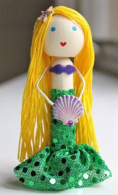 Custom Mermaid Cake Topper Clothespin Doll. via Etsy.
