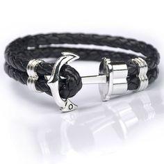 Leather Nautical Anchor Bracelet For Men or Women