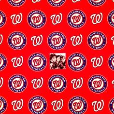 Cotton Fabric - Sports Fabric - MLB Baseball Washington Nationals Logos Red|4my3boyz Fabulous Fabrics by the Fat Quarter and More