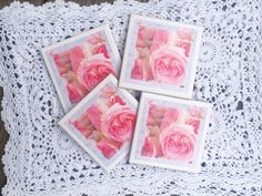 A personal favorite from my Etsy shop https://www.etsy.com/listing/294743083/handmade-pink-roses-ceramic-coasters