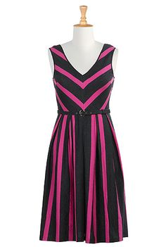 I <3 this Contrast belted stripe knit dress from eShakti