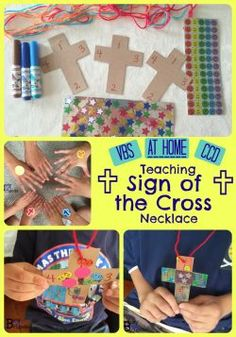 Teaching The Sign Of The Cross Necklace Craft.  Fast, fun, & frugal way to teach Catholic kids Sign of the Cross.  Tips on how to teach little ones right from left and how to practice.