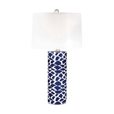 An abstract sketch on deep blue creates an artistic pattern on the base of this lamp. The perfect way to add a colorful glow to a room.