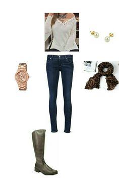 Bota marrom, jeans, tricot bege, cachecol onca e relógio rose