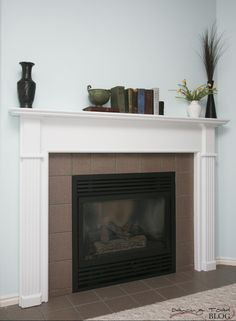 Oak Fireplace Mantle Re-do Oak Mantle, Fireplace Mantles, Mantels, Fireplaces, Home Improvement Projects, Home Projects, Floating Fireplace, Brick And Stone, Home Reno