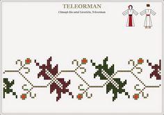 Semne Cusute: traditional Romanian motifs - MUNTENIA, Teleorman Folk Embroidery, Cross Stitch Embroidery, Embroidery Patterns, Stitch Patterns, Loom Beading, Beading Patterns, Pixel Pattern, Cross Stitch Borders, Bargello