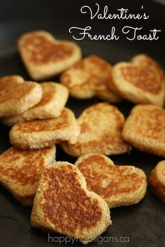 Heart shaped french toast for Valentine's Day