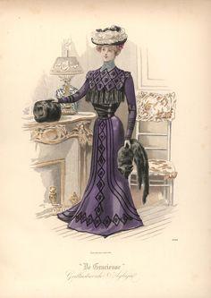 [De Gracieuse] Elegant visitetoilet van paars fluweel (January 1900) Fun skirt pattern
