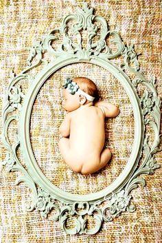 Newborn baby girl framed