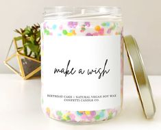 Natural Candles, Best Candles, Soy Wax Candles, Confetti Cake, Birthday Cake With Candles, Biodegradable Products, Sprinkles, Birthday Gifts, Vanilla Cake