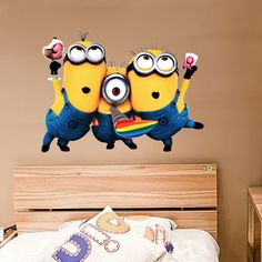 Despicable Me Wall Decal (3 Minions Kids Room Decor Removable Sticker, Home Mural Art)