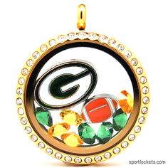 Green Bay Packers charm locket necklace from SportLockets.com. Includes NFL licensed charm, football charm and Swarovski crystals in team colors. Available in silver, black or gold with your choice of chain.