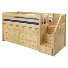 Maxtrix Great 3 Low Loft Storage Bed with Stairs & 2 Dressers Childrens Bunk Beds, Kids Bunk Beds, Loft Spaces, Small Spaces, Low Loft Beds, Bunk Beds With Stairs, Bed Storage, Extra Storage, Bunk Beds With Storage