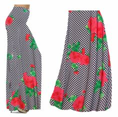 2d76d03858a Black   White Checkerboard With Red Roses Slinky Print Special Order Plus  Size   Supersize Pants